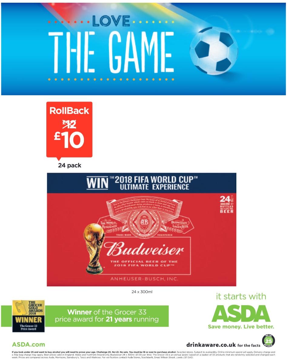 24 bottles of Budweiser £10 @ Asda