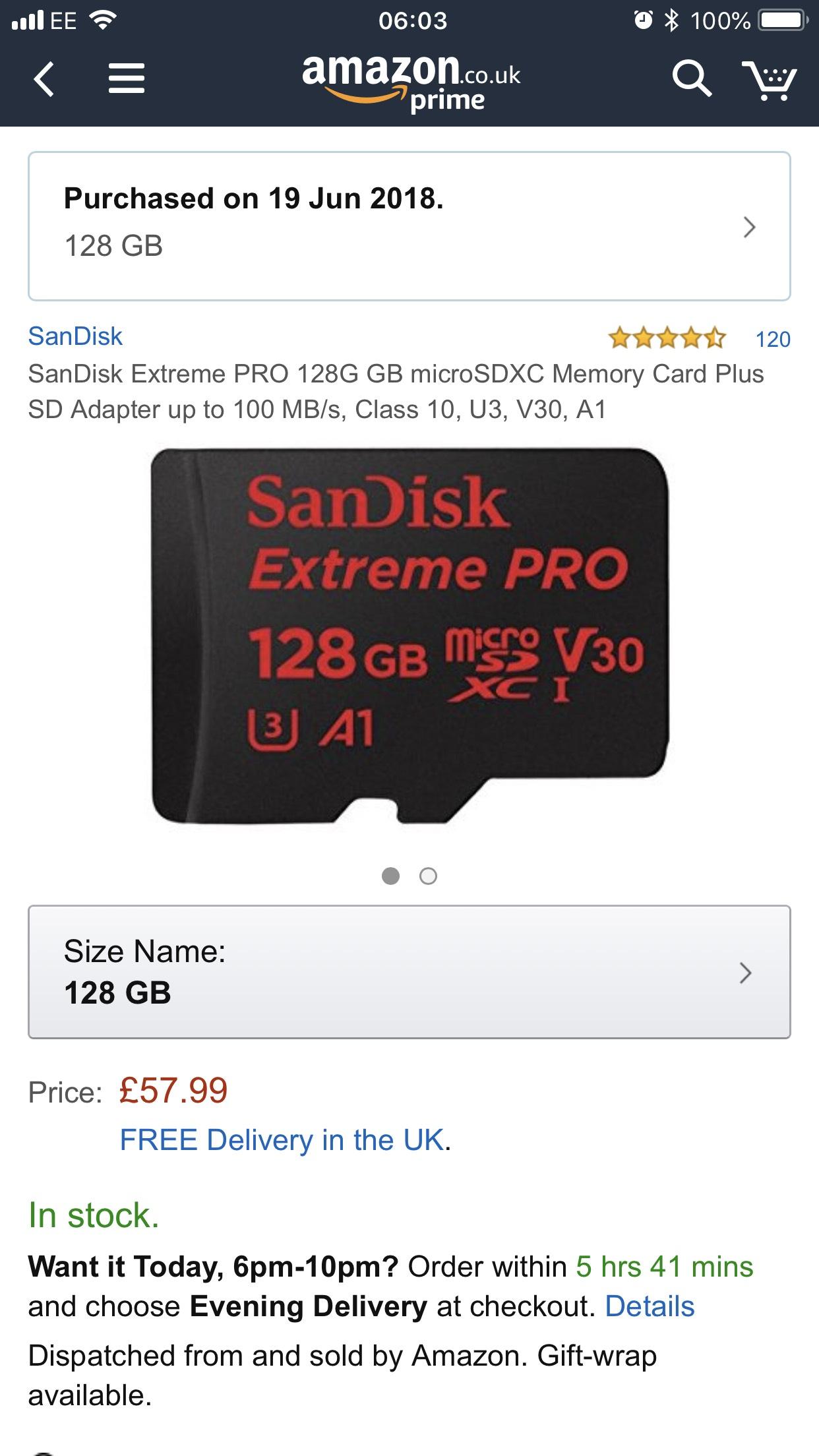 Sandisk ExtremePro MicroSDXC 128gb U3 A1 £57.99 Amazon