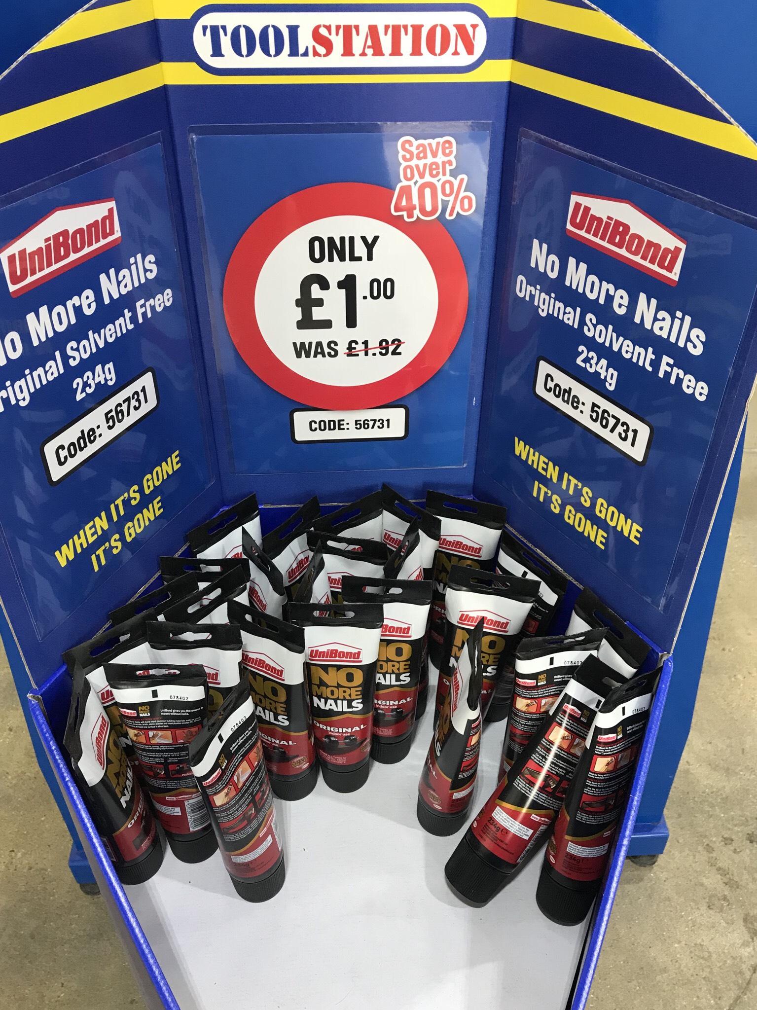 Unibond No More Nails Original Solvent Free 234g £1 @ Toolstation