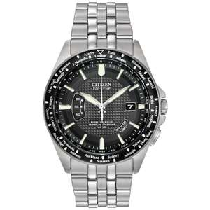 Citizen Eco-Drive CB0020-50E Men's World Perpetual SS Watch, Silver/Black with 5 years Guarantee From £174.50 John Lewis