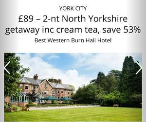 2 night stay near York at Best Western Burn Hall Hotel  with free cream tea and local bird of prey centre tickets £89 @ travelzoo