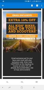 Halfords 10% off discounted pushbikes