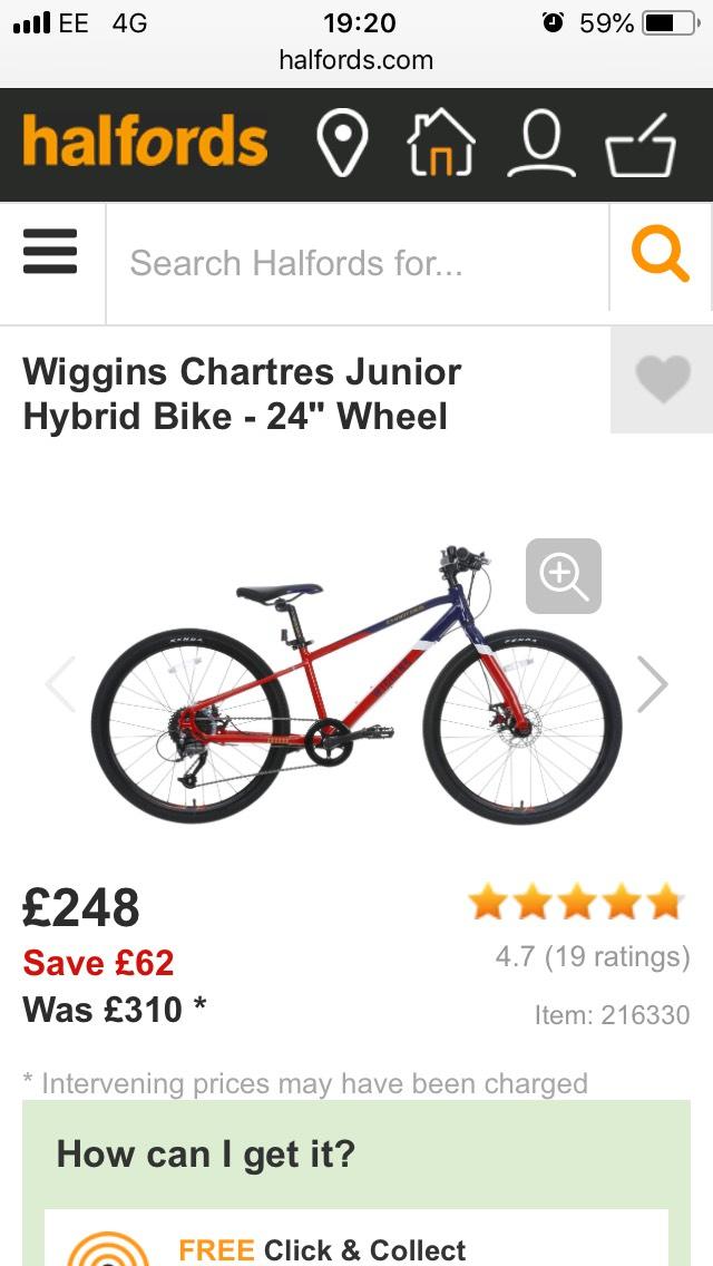 "Wiggins Chartres Junior Hybrid Bike - 24"" Wheel - £248 @ Halfords"
