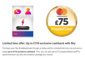 Sky Broadband and Fibre Special Offers - Upto £110 Cashback + £75 Reward @ Topcashback