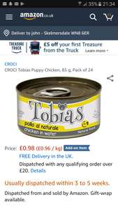 Croci puppy chicken 24x85g add on item £20 spend for free delivery @ Amazon