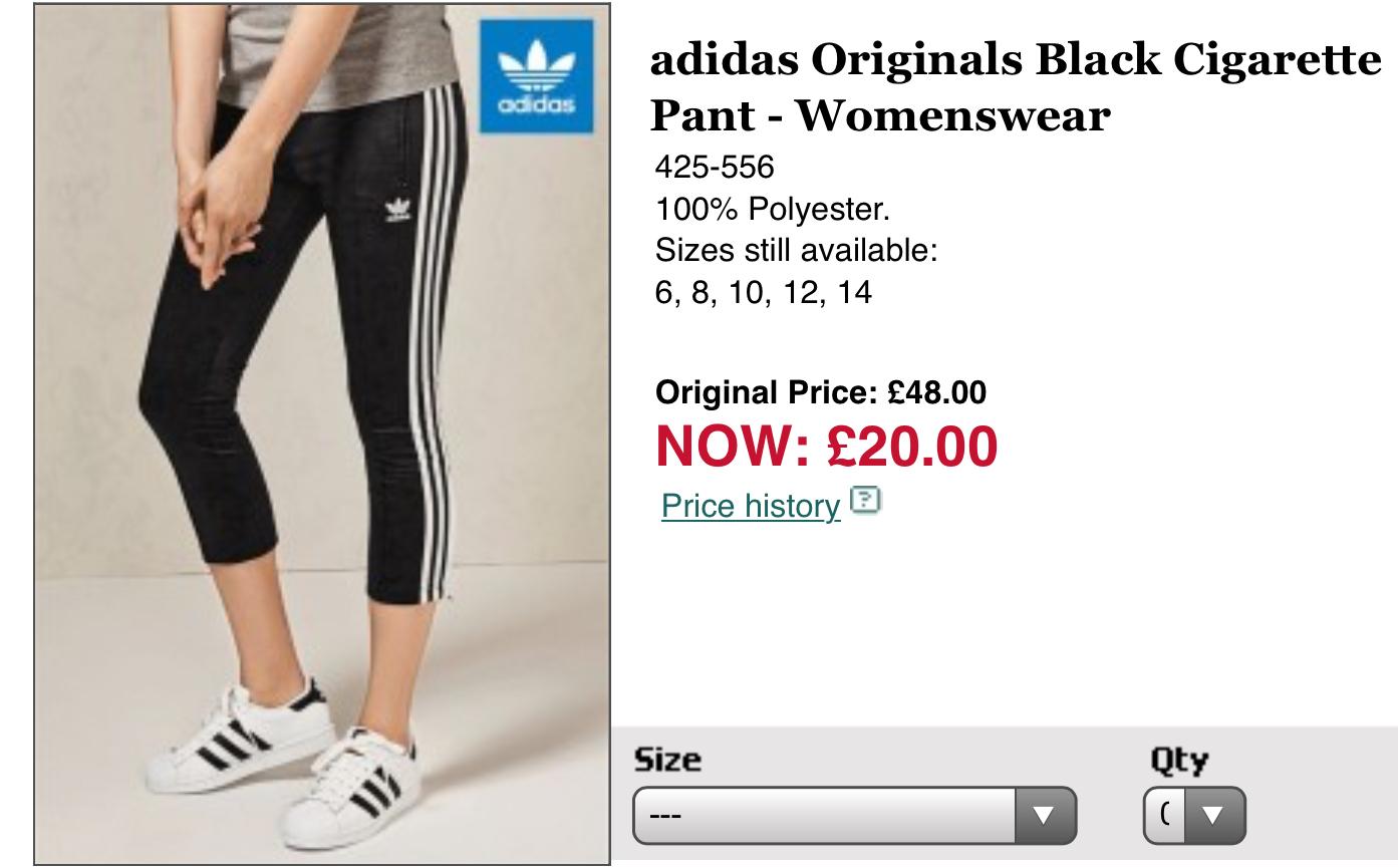 adidas Originals Black Cigarette Pant - Womenswear Size 6-14 £20 @ Next
