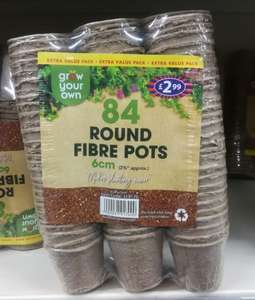 B+M round fibre pots 84 - 6cm and 60 - 8cm. 20p a pack