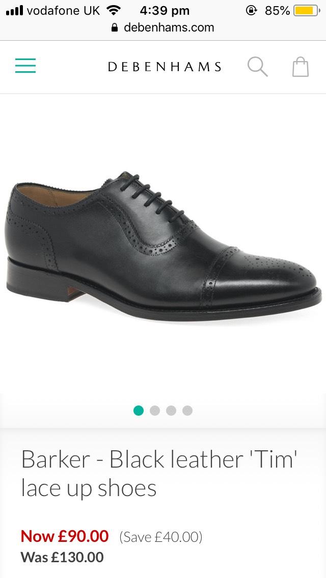 Barker - Black leather 'Tim' lace up shoes - £90 @ Debenhams