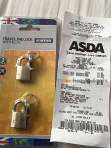 Status Travel Padlock with Keys 2 pack @ 0.30p (RRP £3) @ Asda Beckton