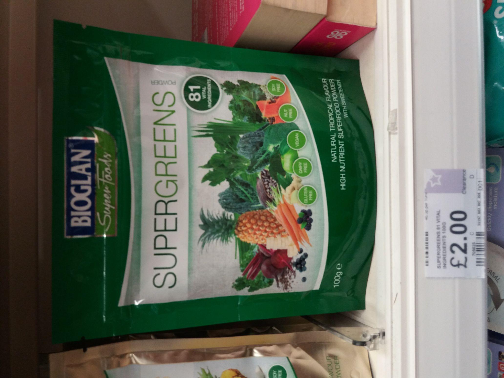Bioglan Supergreens powder tropical flavour 100g - £2 instore @ Superdrug (Chatham)