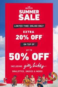Hollister - Extra 20% Off on Top of 50% Off Sale