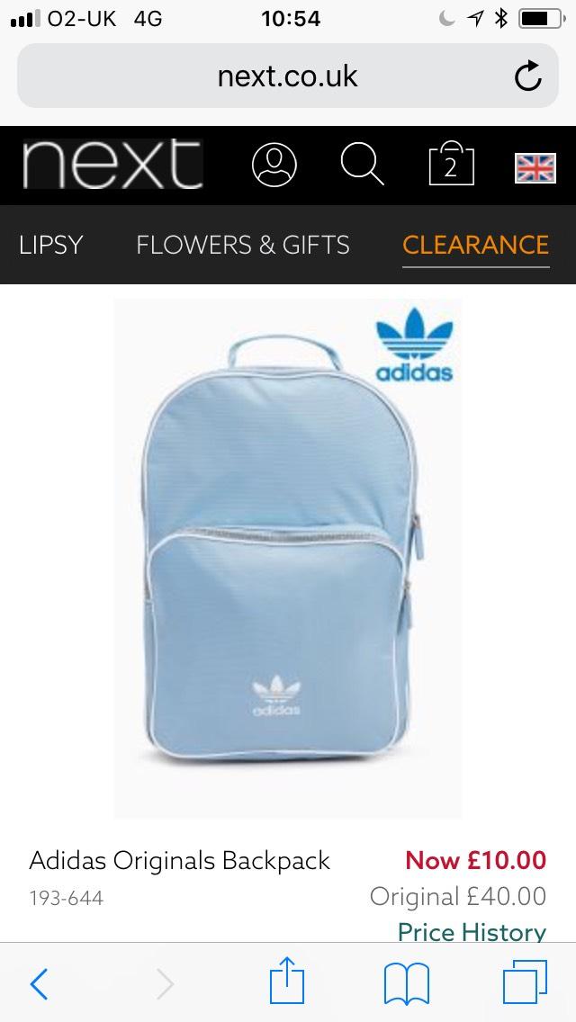 Adidas Originals sky blue backpack £10 at next free click n collect