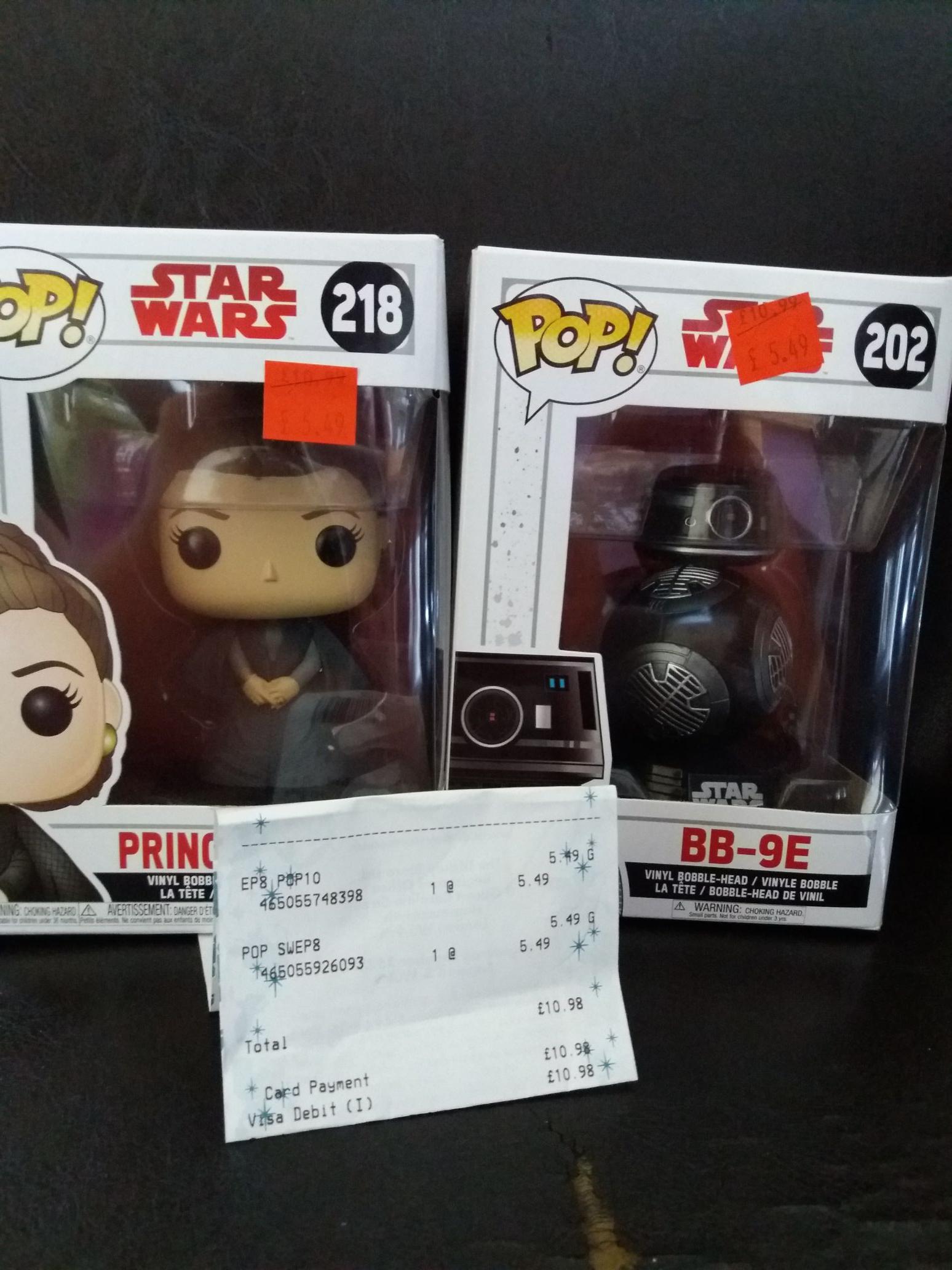 Star wars pop vinyl figures reduced to £5.49 instore & online @ Disney store.