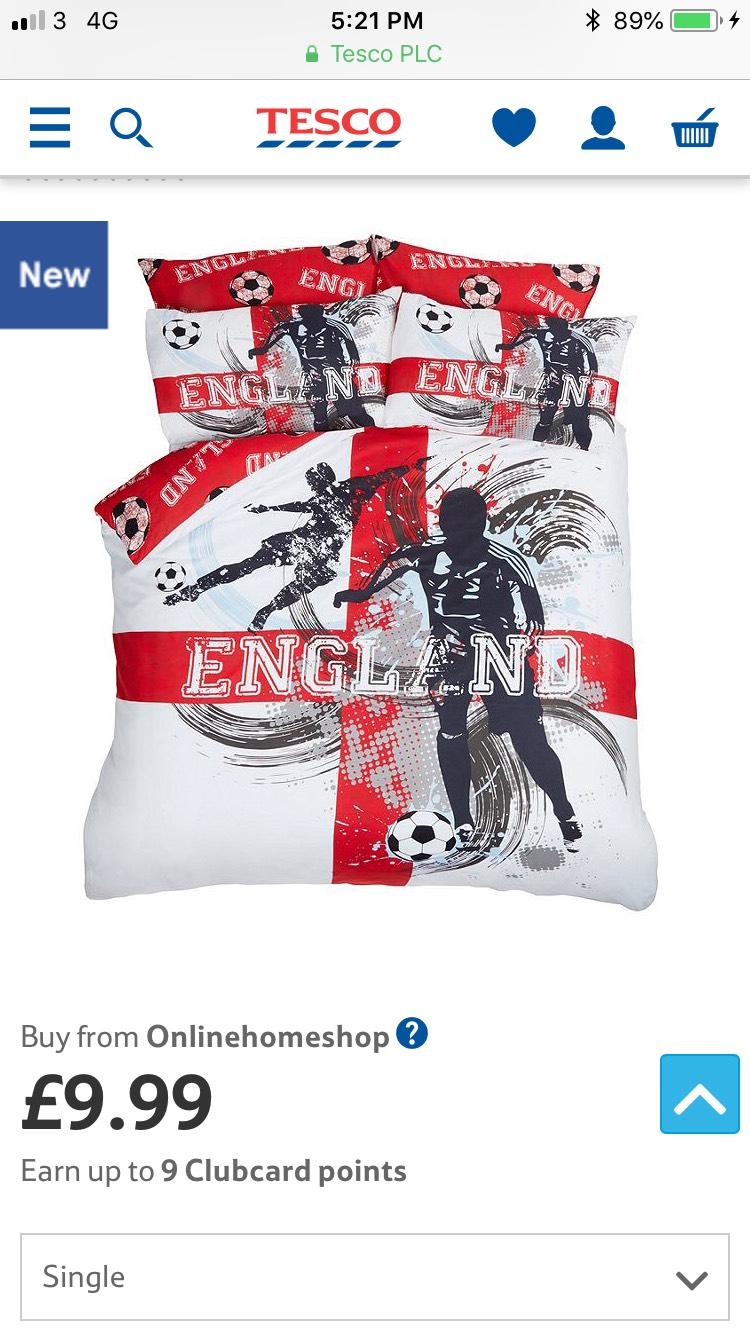 Let's go England!!  England Football Bedding Set £9.99 £9.99 @ Tesco