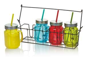 Set of 4 Multicolour Drinking Jam Jars with Lids / Straws + Handles in Crate was £10 now £5 C+C @ B&Q