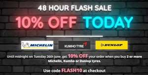 10% OFF your order when you buy 2 or more Dunlop, Kumho or Michelin tyres at Blackcircles.com