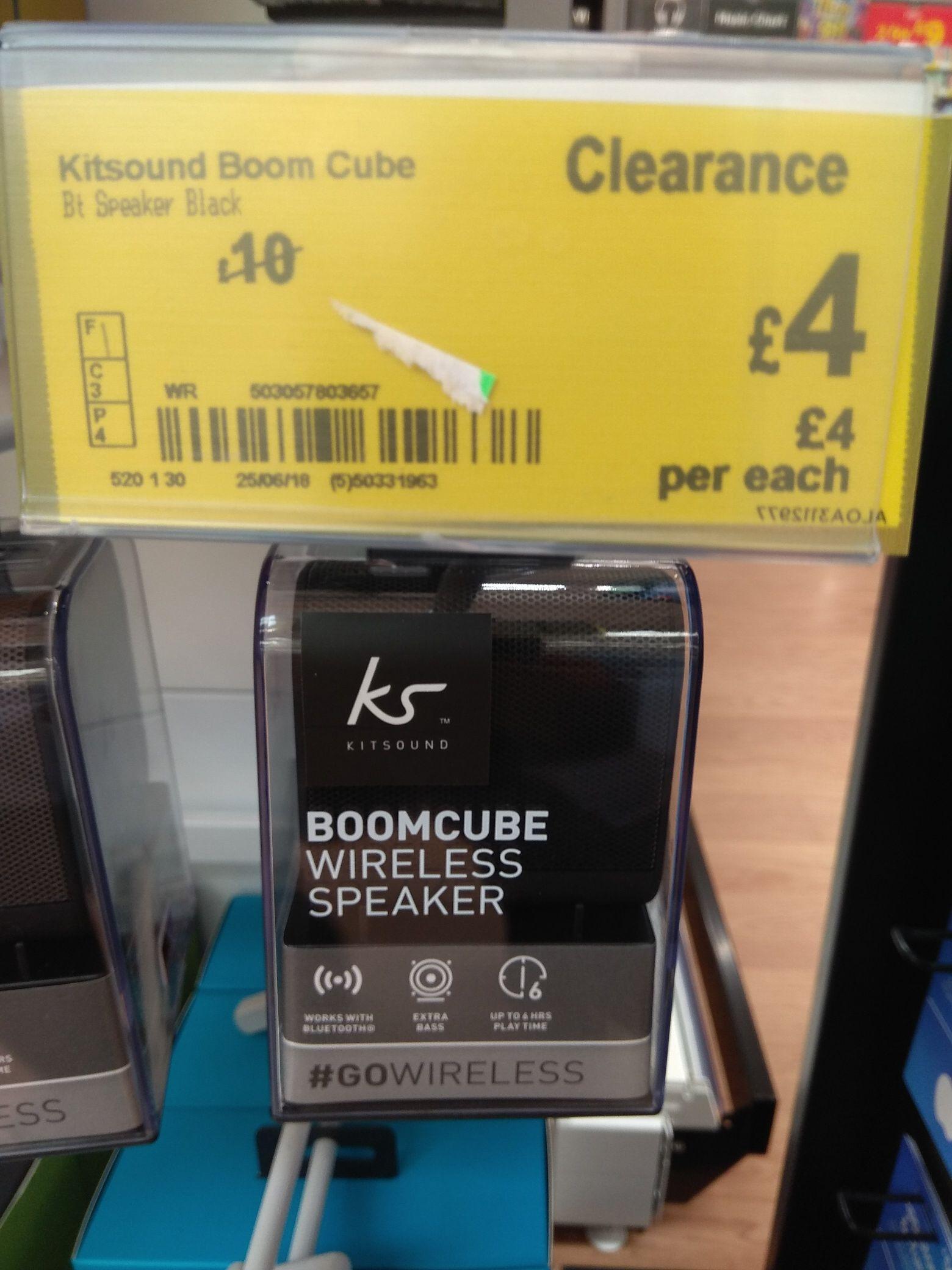 KitSound Boom Cube Portable Wireless Bluetooth Speaker - Black - £4 instore @ Asda living