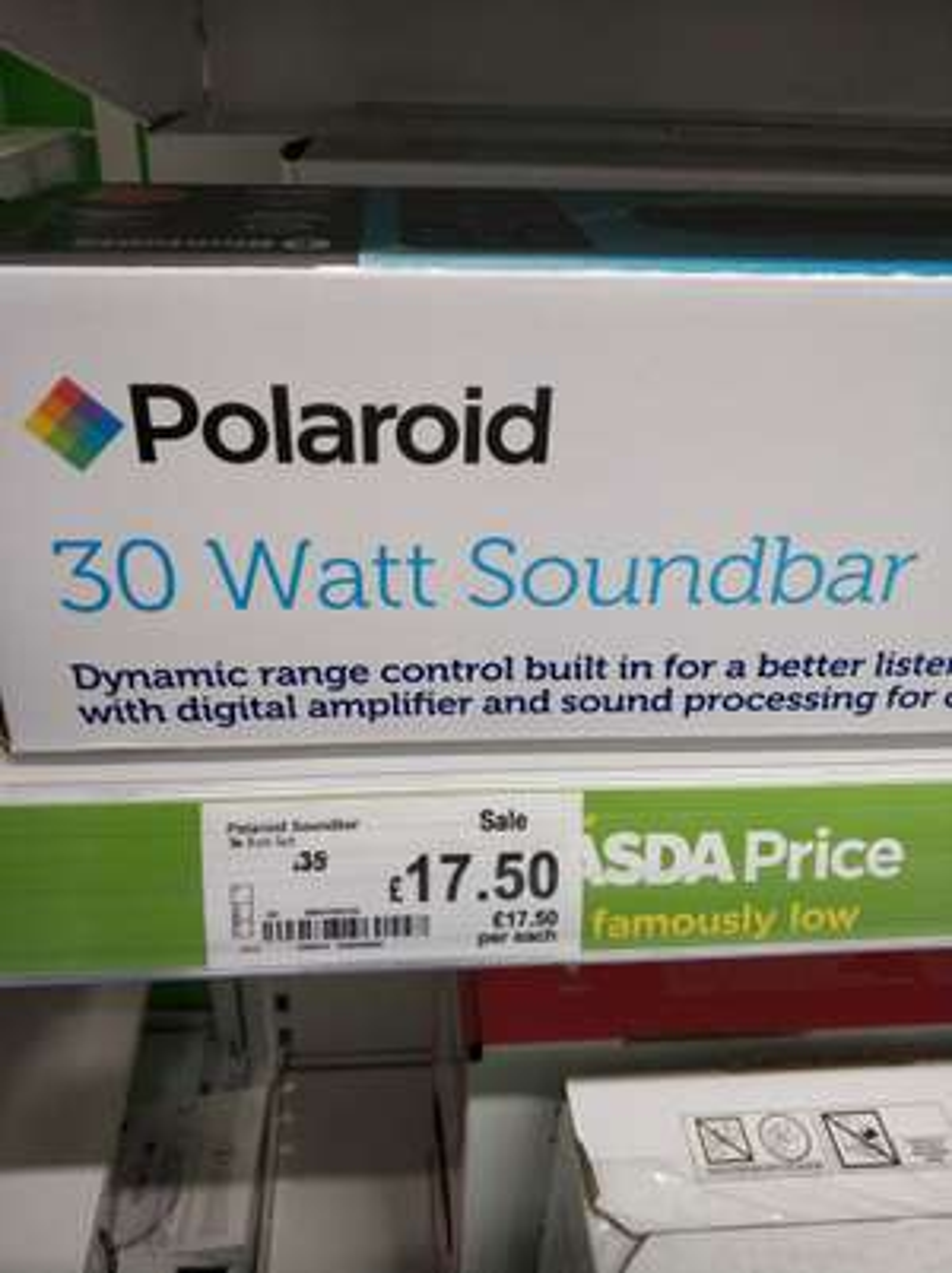 Polaroid 30w soundbar - £17.50 - Asda Chandlers Ford