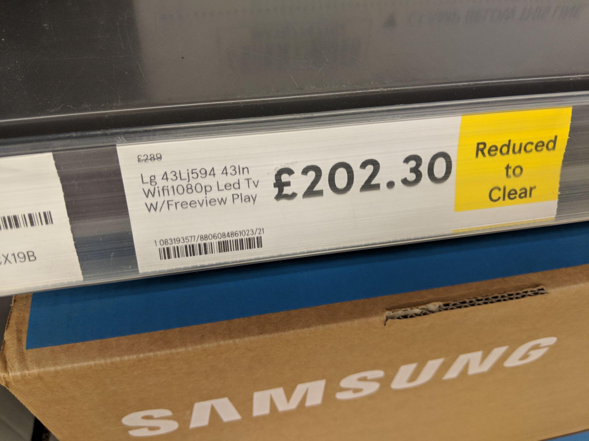 "Lg 43lj594 Full HD 43"" TV. RTC Tesco's Stretford £202.30"