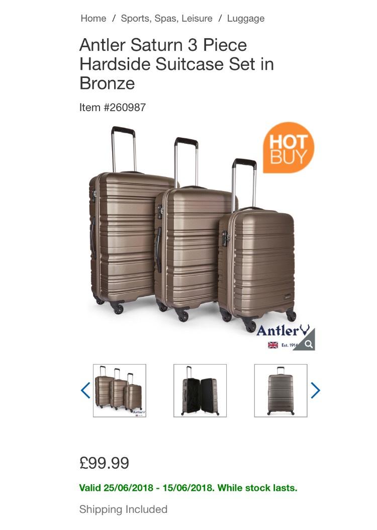 Antler Saturn 3 Piece Hardside Suitcase Set £99.99 @ Costco