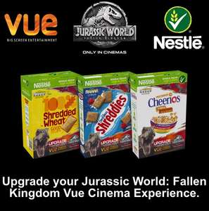 Free Jurassic World cinema upgrade at Vue from Nestle breakfast cereal boxes