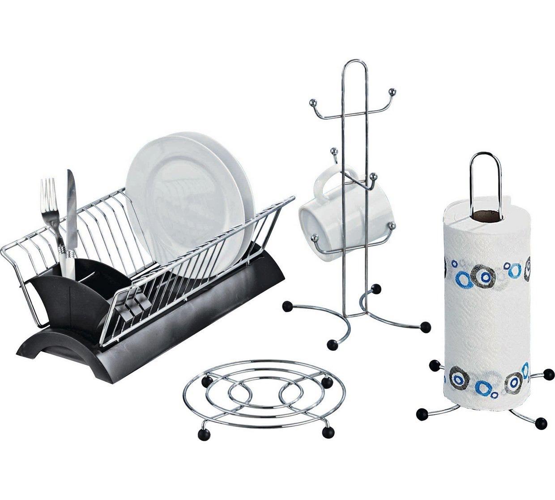 HOME Set of 4 Black and Chrome Kitchen Accessories - £5.49 @ Argos