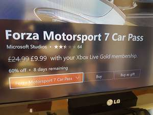 Forza Motorsport 7 Car Pass £9.99 with xbox live gold membership.