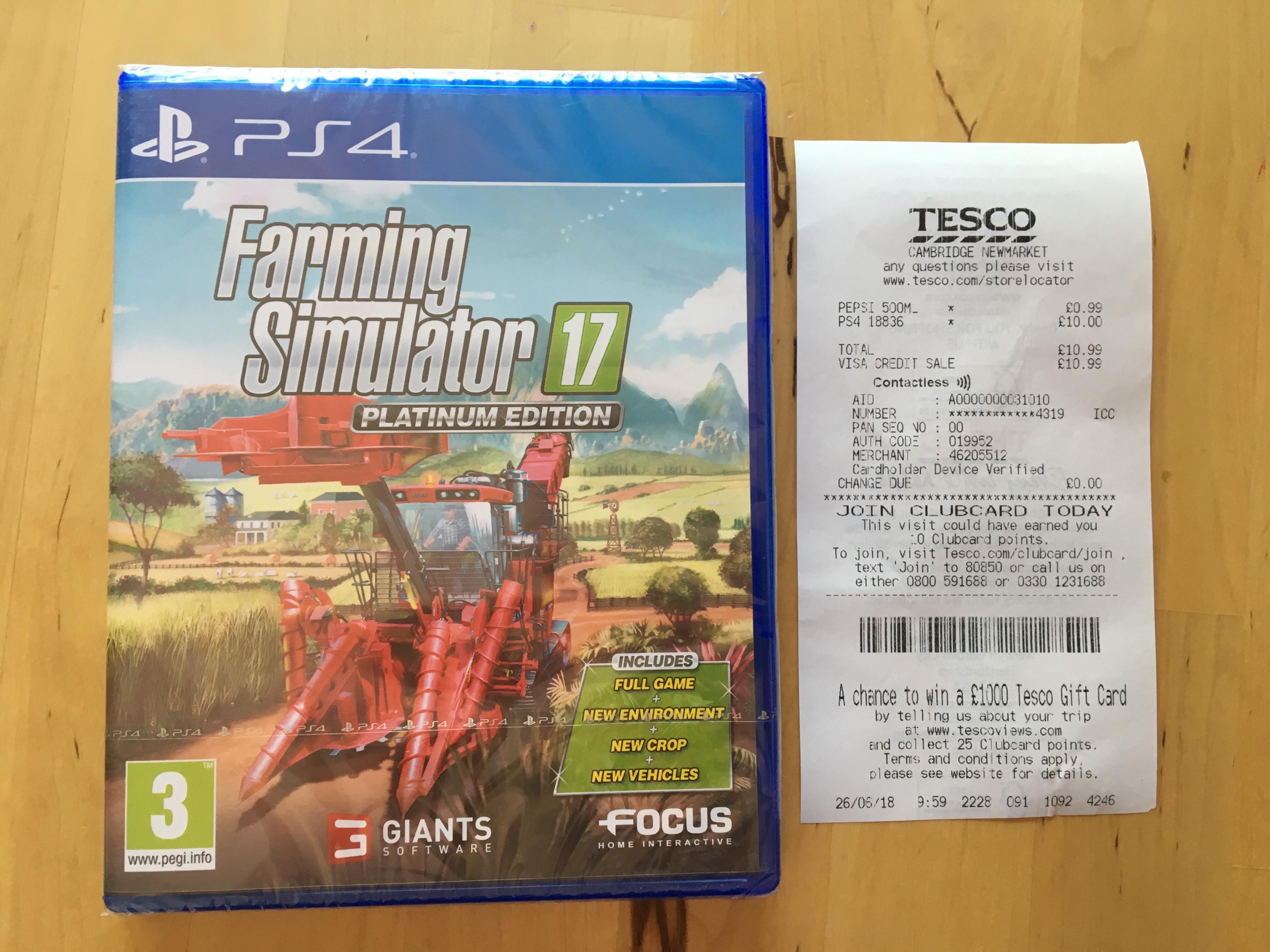Farming Simulator 17 - Platinum Edition £10 at Tesco instore