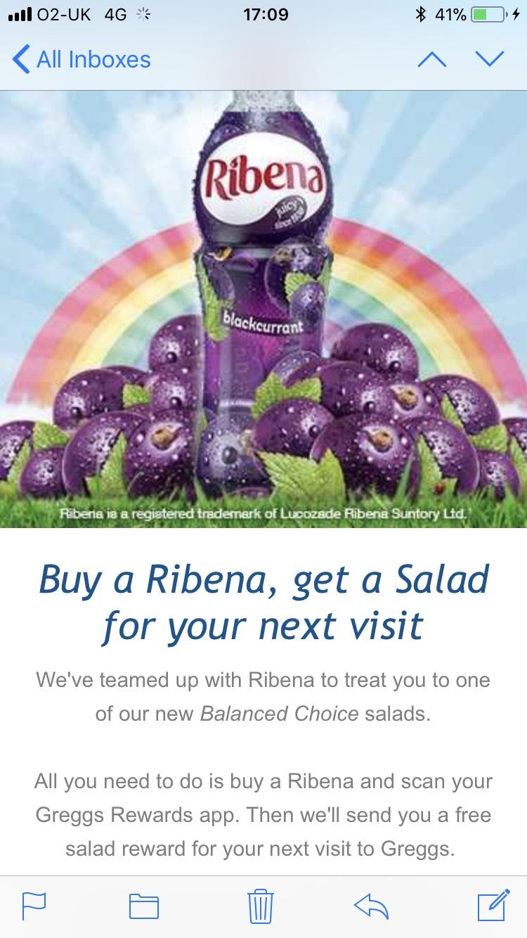 Free salad when you buy a Ribena £1.25 at greggs
