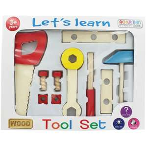 Lets Learn Wooden Tool Set £3 @ The Works (free C&C)