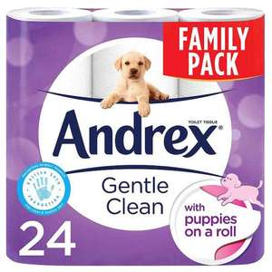 Family pack: Andrex 24 gentle clean 'puppies on a roll ' toilet rolls now £7.99 @ Poundstretchers