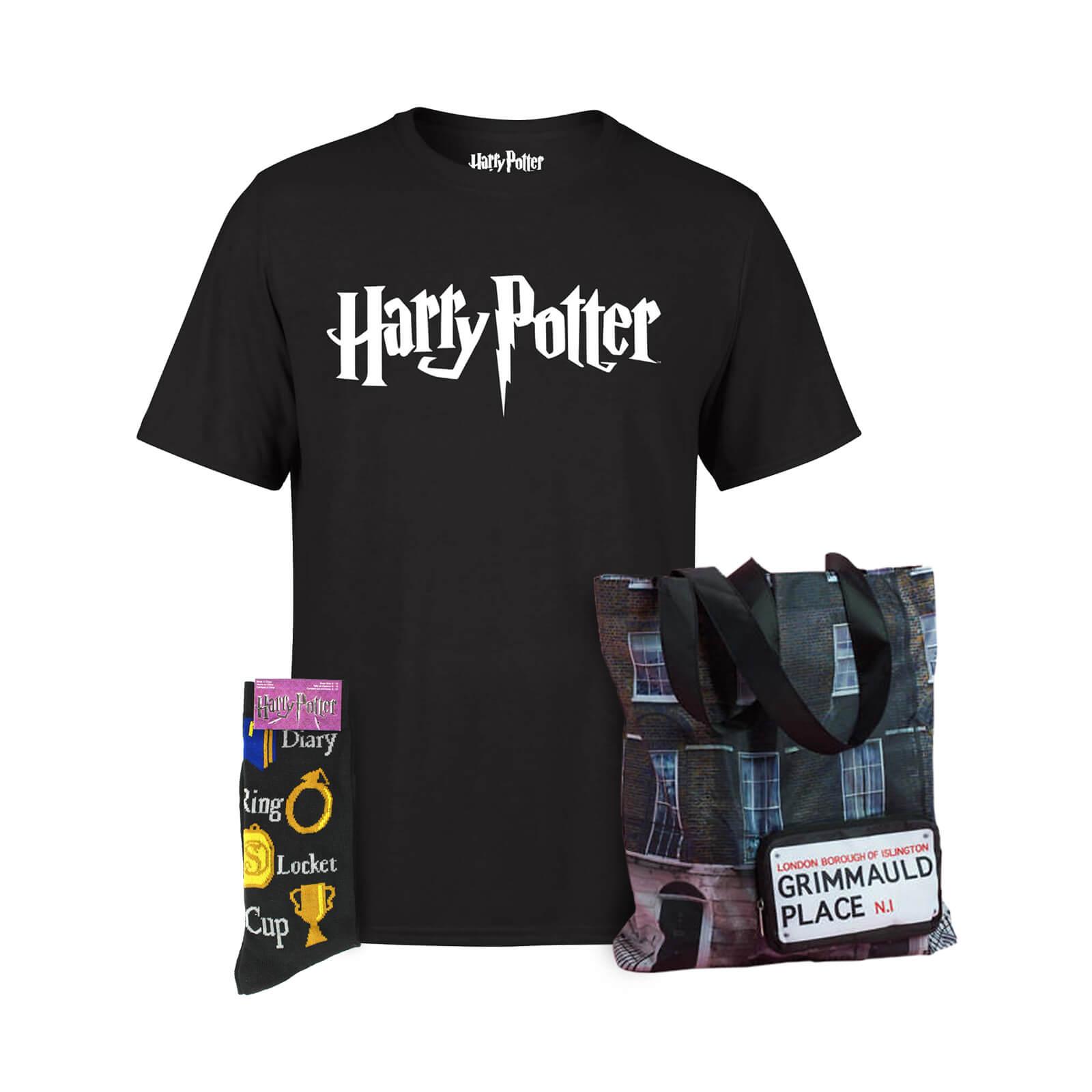 Harry Potter Bundle - Incl. Logo Men's / Women's T-Shirt +  Horcrux Socks + Grimmauld Place Tote Bag £14.99 + 99p  delivery at Zavvi