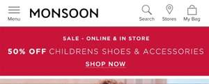 50% OFF childrens shoes & Accessories @ Monsoon