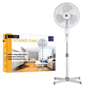 """KNIGHT 16"""" STAND FAN WHITE 3 ADJUSTABLE SPEEDS OSCILLATING STAND FAN £14.99 at Latifs - Great fan which is a lifesaver in this heat!"""