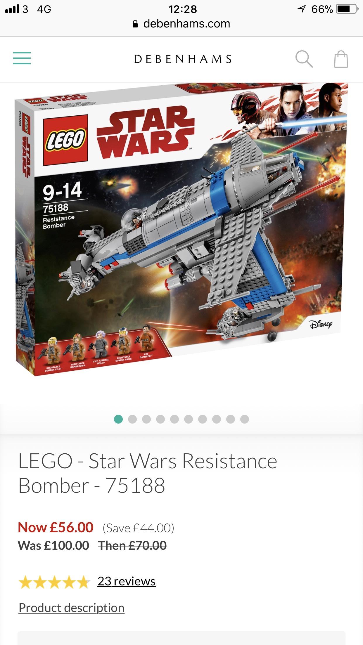 Debenhams Star Wars Lego discount - LEGO - Star Wars Resistance Bomber - 75188 £56 (free c&c)