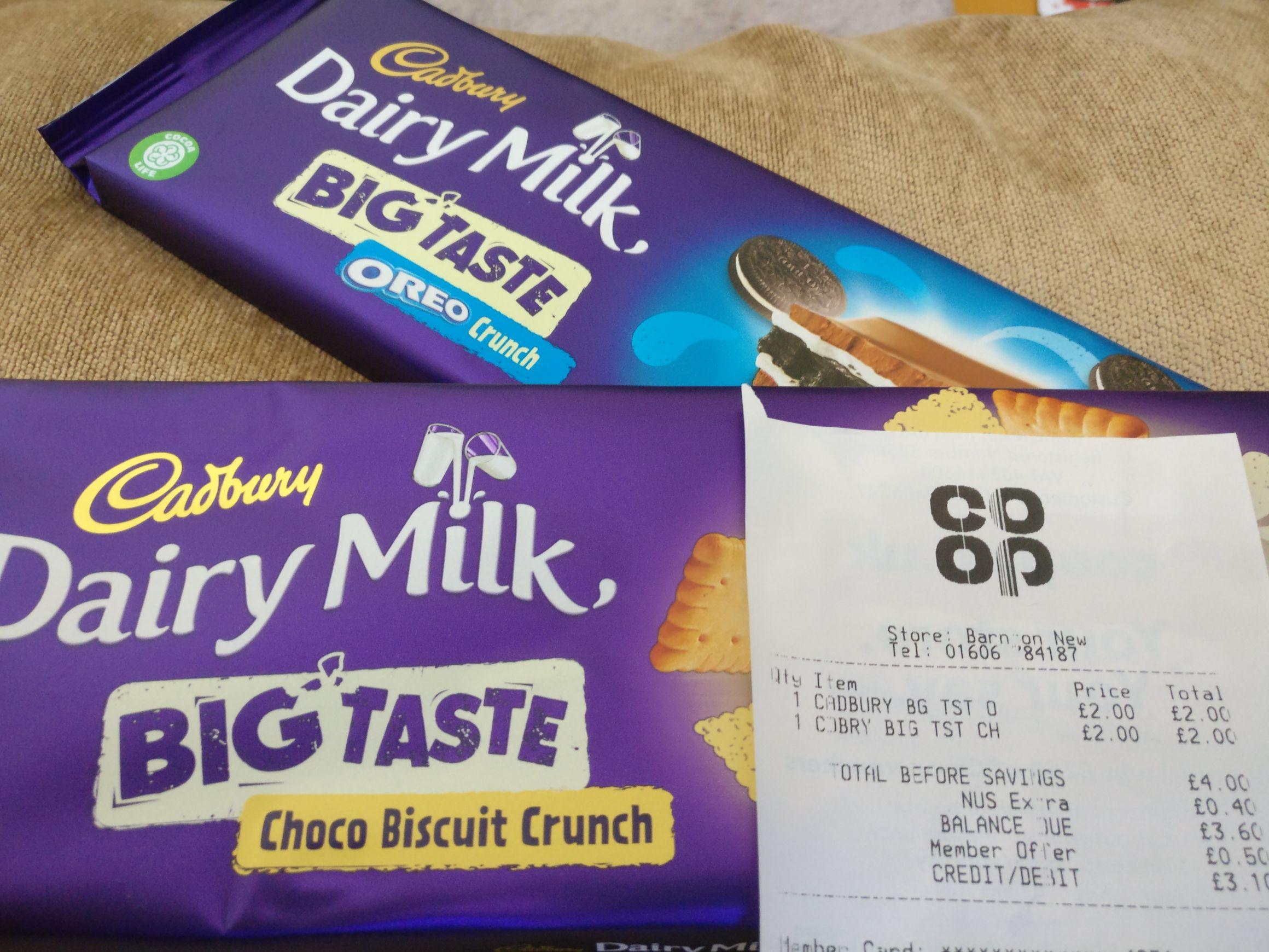 Dairy Milk Big Taste 300g £2 In Store @ Co-Op