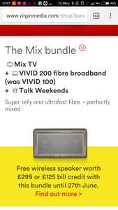 £45 virgin 213mb WiFi and TV with a free £299 speaker (12 month contract) Term = £540