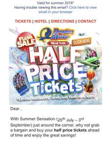 Half price tickets for Drayton manor Now LIVE