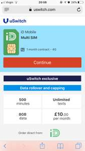 8gb of 4G data, calls and texts £10 per month, 1m contract, Data rollover @ ID Mobile
