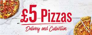 Pizza Hut Delivery (min. £10.99) and Collection; £5.00 for medium pizzas or sides
