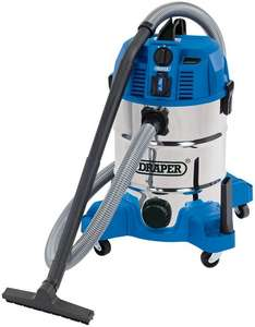 DRAPER 30L Wet and Dry Vacuum Cleaner with Integrated 230V Power Socket (1600W) - £79.99 @ Yandles (+£6.49 P&P)