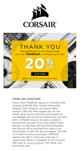 Corsair UK 20% off on most items