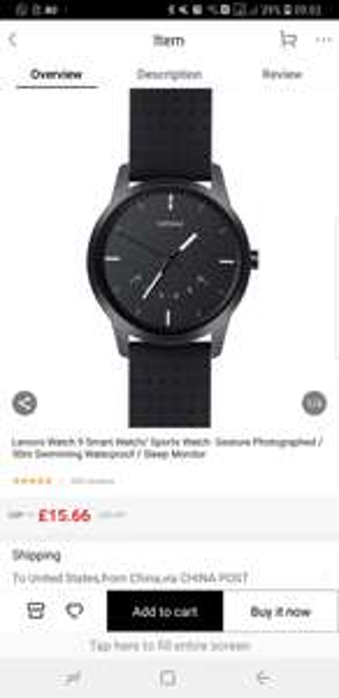 Lenovo Watch 9 Smart watch. Free shipping £15.66 joybuy