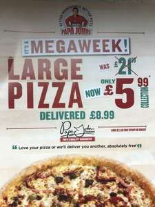 Any Large Pizza £5.99 Collection/ £8.99 Delivered @ Papajohn's (STORE SPECIFIC) OR £10 off £30 (NATIONWIDE)