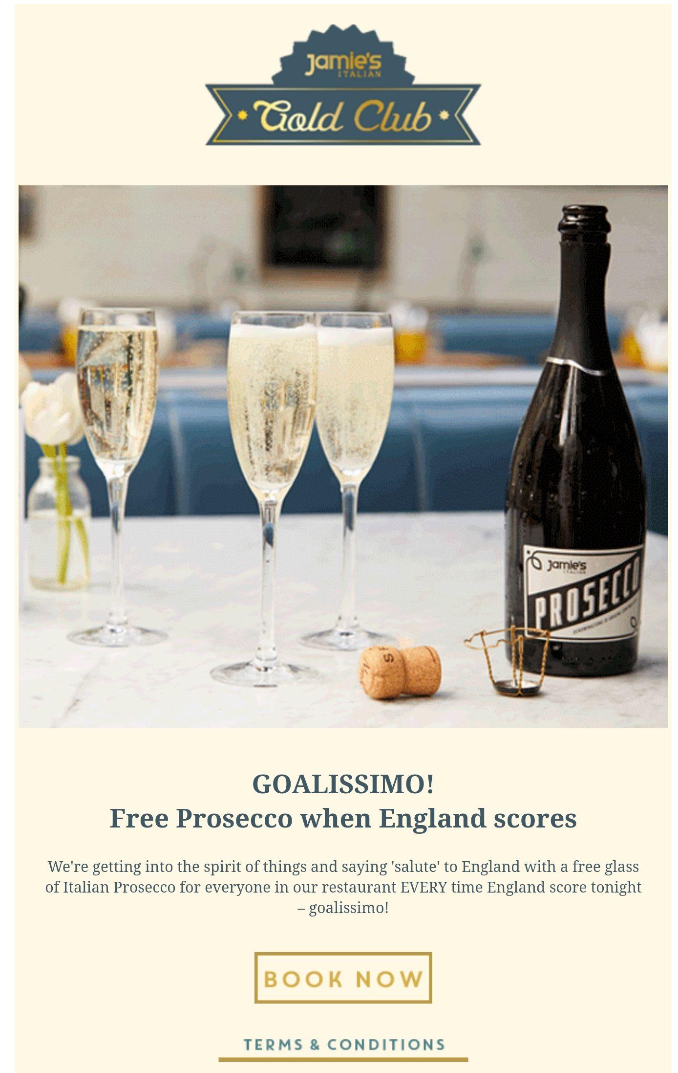 Free Prosecco when England scores at Jamie's Italian
