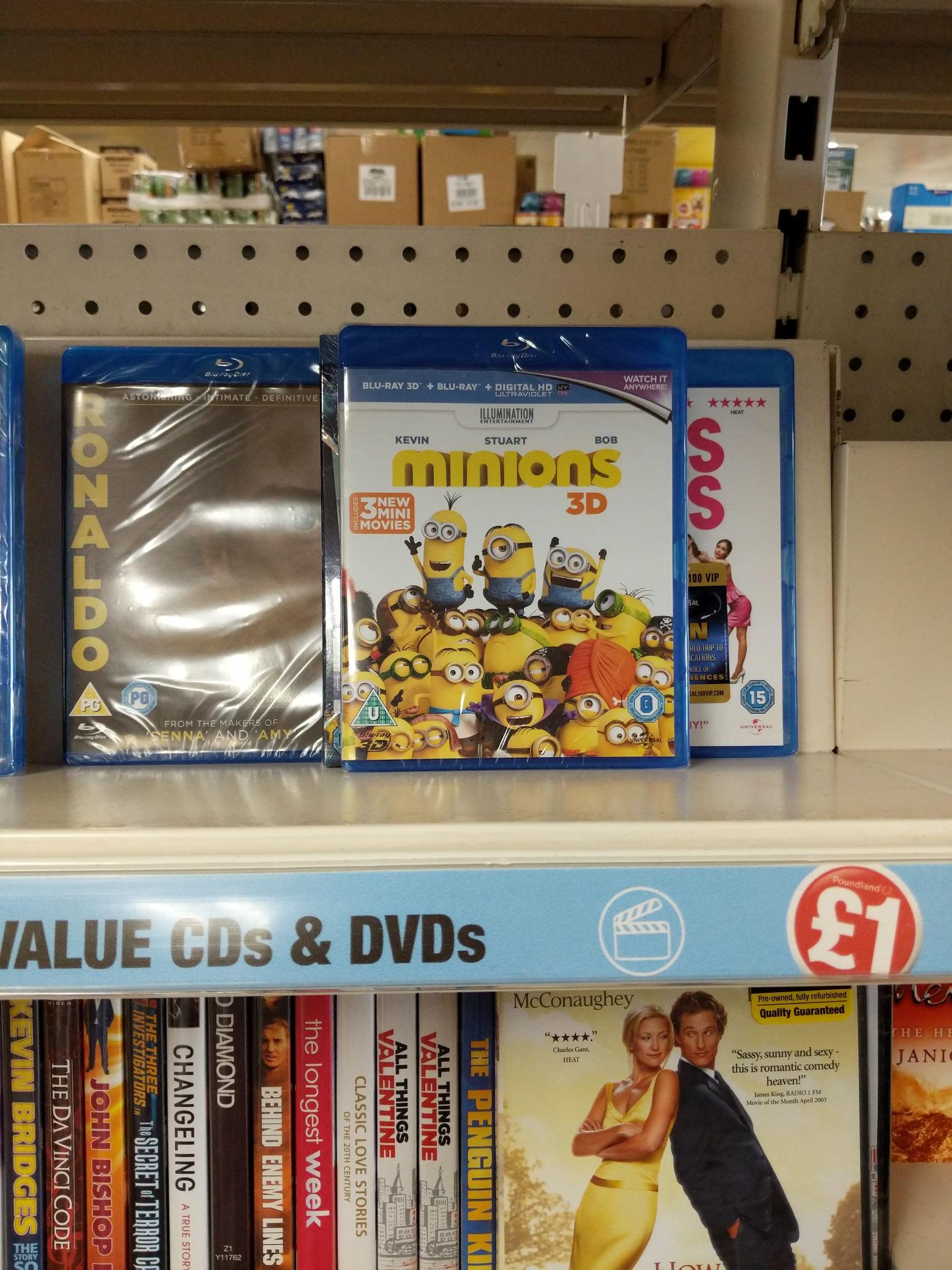 Minions 3D Blu Ray - £1 (new) at Poundland