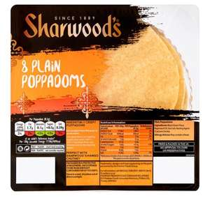 Sharwoods Plain Poppadoms 8 Pack - 94p at Tesco