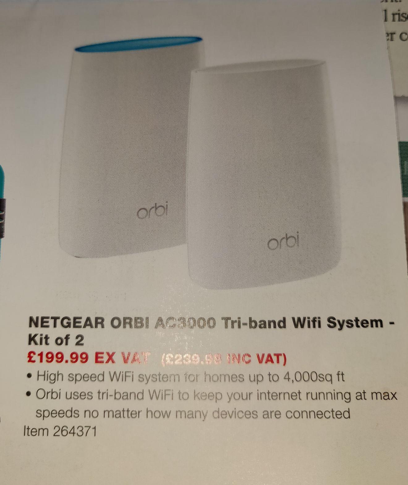 Netgear Orbi RBK50 AC3000 mesh wifi kit - £239.99 instore @ Costco Warehouse