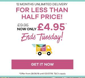 Unlimited 1 year next day delivery £4.95 JD Williams