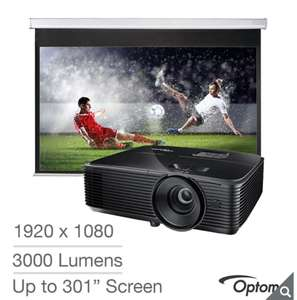 Optoma HD143x Full HD, Home Cinema Projector with 92 Inch DS-9092PWC for £449.89 / £434.89 w/code @ Costco